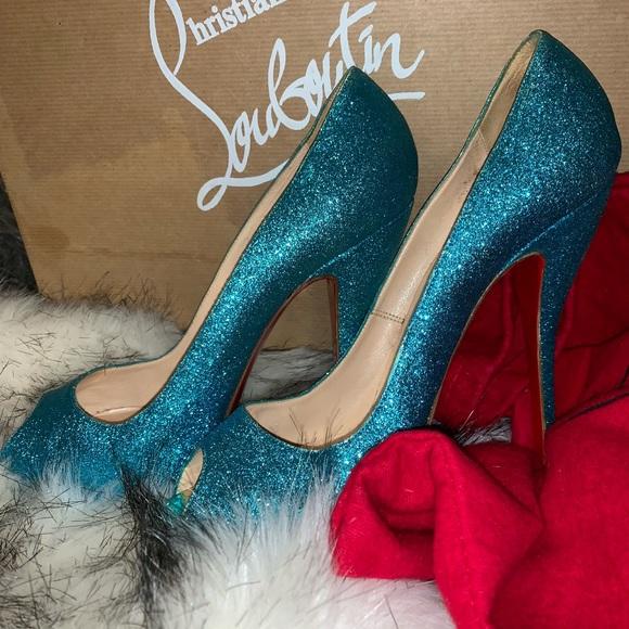 Mermaid Blue Peep Toe Louboutin Heels